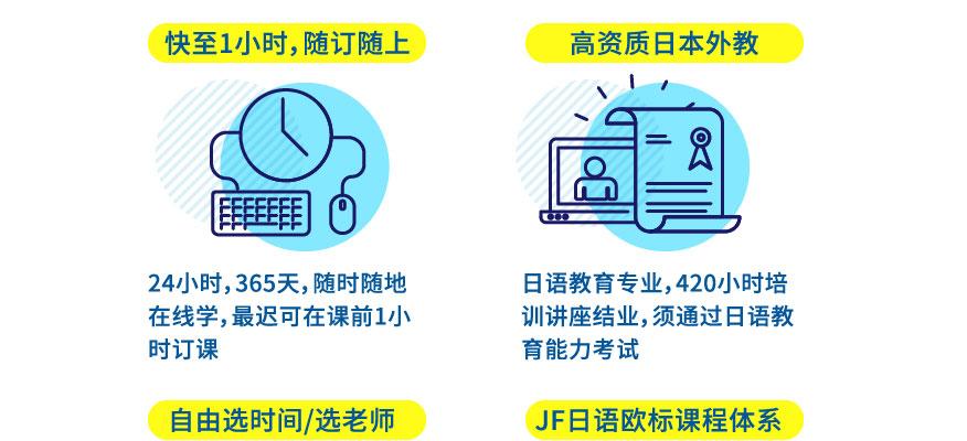 日语培训优势;快至1小时,随订随上:24小时,365天,随时随地在线学,迟可在课前1小时订课。 高资质日本外教:日语教育专业,420小时培训讲座结业,须通过日语教育能力考试。