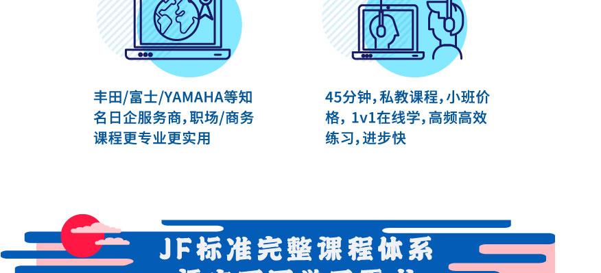 日企培训服务商:丰田/富士/YAMAHA等日企服务商,职场/商务课程更专业更实用。  高性价比1v1私教课:45分钟,私教课程,小班价格,1v1在线学,高频高效练习,进步快。